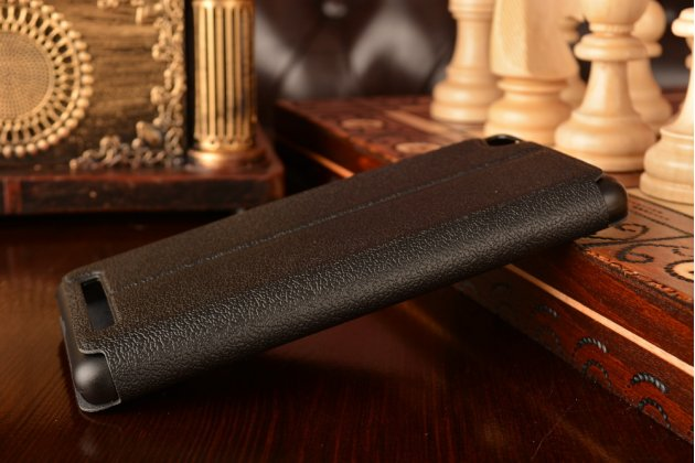 """Чехол-книжка для xiaomi redmi 3/3x 5.0"""" из качественной импортной кожи черный с окошком для входящих вызовов и свайпом"""