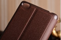 """Чехол-книжка для xiaomi redmi 3/3x 5.0"""" из качественной импортной кожи коричневый с окошком для входящих вызовов и свайпом"""
