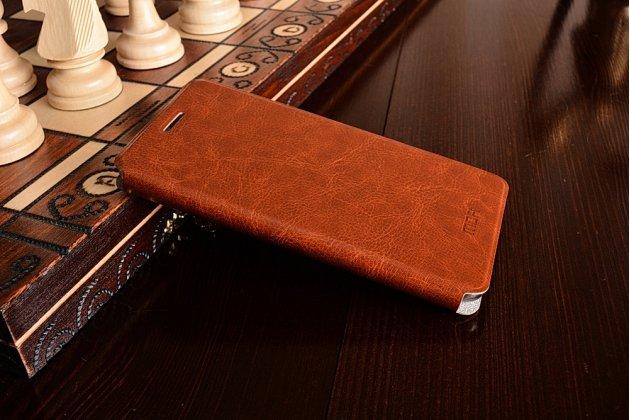 Чехол-книжка из качественной водоотталкивающей импортной кожи на жёсткой металлической основе для xiaomi redmi 3/3x 5.0 коричневый