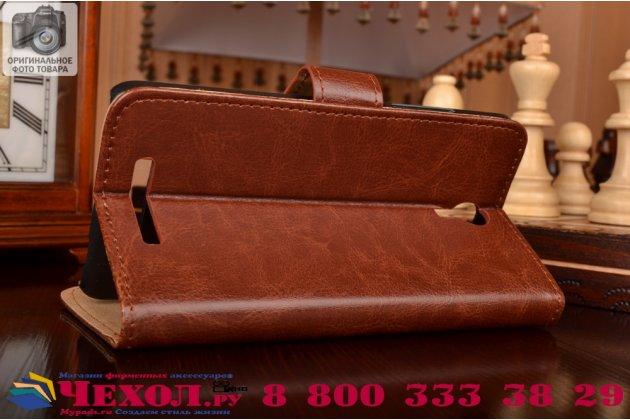 """Чехол-книжка из качественной импортной кожи с мульти-подставкой застёжкой и визитницей для сиаоми редми нот 2 5.5"""" коричневый"""