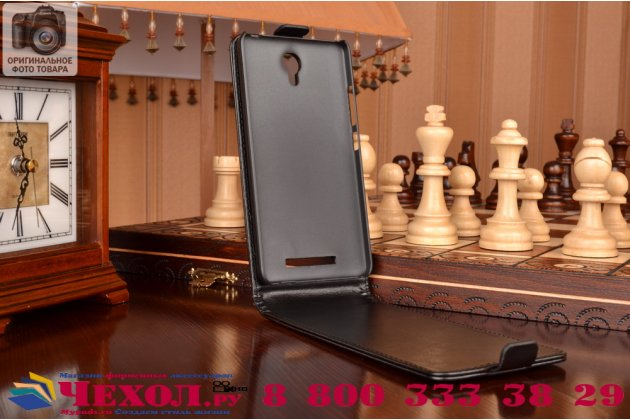 """Вертикальный откидной чехол-флип для xiaomi redmi note 2/ note 2 prime 5.5""""  черный из натуральной кожи """"prestige"""" италия"""