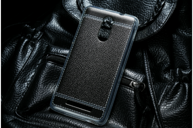 Премиальная элитная крышка-накладка на xiaomi redmi note 2 5.5 черная из качественного силикона с дизайном под кожу