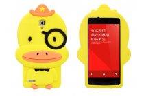 """Задняя панель-чехол-накладка с объёмным 3d изображением для xiaomi redmi note  """"тематика веселый утенок"""" желтый"""