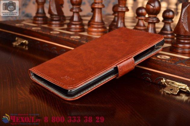 Чехол-книжка из качественной импортной кожи с мульти-подставкой застёжкой и визитницей для сиаоми редми нот коричневый