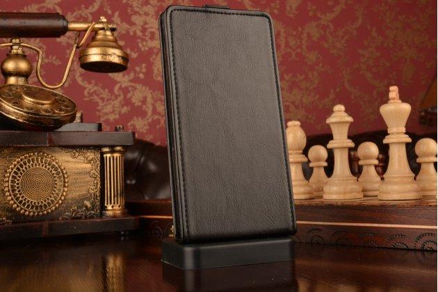 Вертикальный откидной чехол-флип для xiaomi redmi note черный кожаный