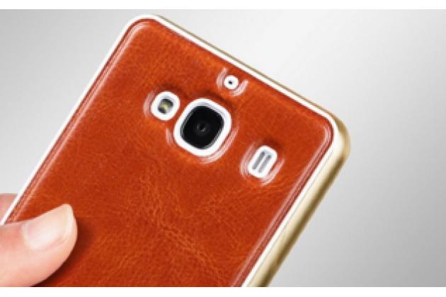 Роскошная элитная премиальная задняя панель-крышка на металлической основе обтянутая импортной кожей для xiaomi red mi 2 королевский коричневый