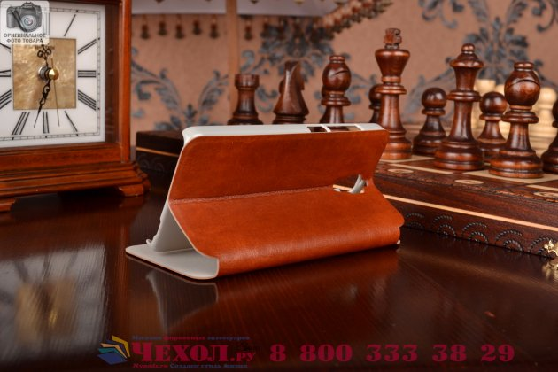 Чехол-книжка из качественной водоотталкивающей импортной кожи на жёсткой металлической основе для xiaomi mi4  коричневый