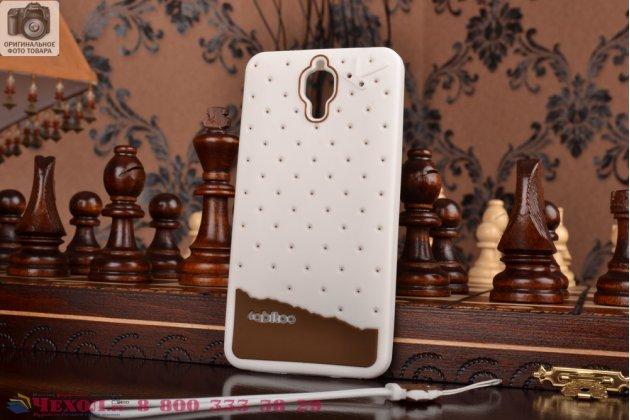 """Необычная уникальная полимерная мягкая задняя панель-чехол-накладка для xiaomi mi4 """"тематика андроид в белом шоколаде"""""""