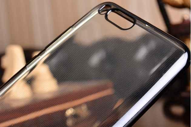 Ультра-тонкая полимерная из мягкого качественного силикона задняя панель-чехол-накладка для xiaomi mi6 прозрачная с черной окаёмкой