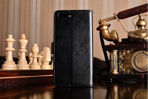 Чехол-книжка  из качественной импортной кожи с застёжкой и мультиподставкой для xiaomi mi6 черная