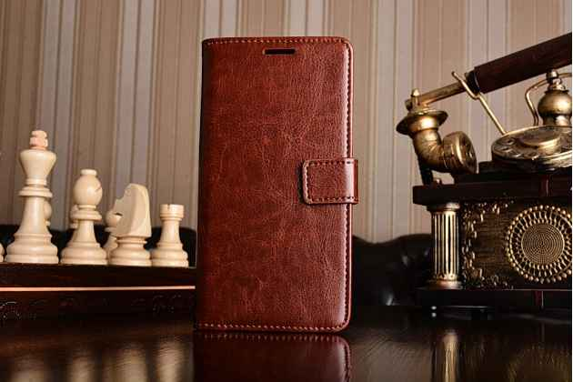 Чехол-книжка  из качественной импортной кожи с застёжкой и мультиподставкой для xiaomi mi6 коричневая