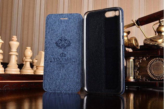 Чехол-книжка из качественной водоотталкивающей импортной кожи на жёсткой металлической основе для xiaomi mi6 синий