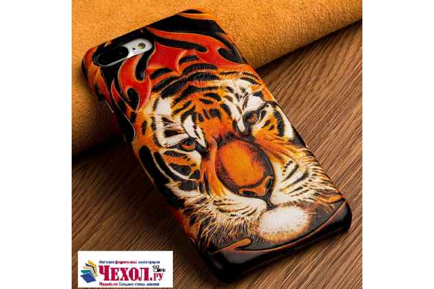 """Роскошная задняя панель-крышка обтянутая импортной кожей для  xiaomi mi6  """"тематика тигр"""""""