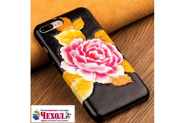 """Роскошная задняя панель-крышка обтянутая импортной кожей для xiaomi mi6 """"тематика роза"""""""