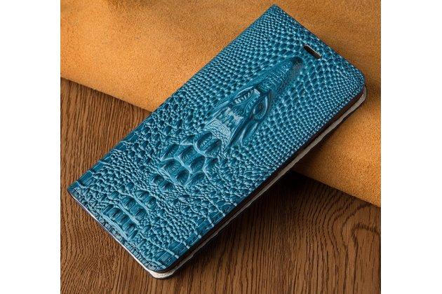 Роскошный эксклюзивный чехол с объёмным 3d изображением рельефа кожи крокодила синий для xiaomi mi6 . только в нашем магазине. количество ограничено
