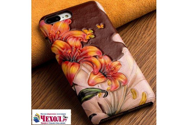 """Роскошная задняя панель-крышка обтянутая импортной кожей для  xiaomi mi6 тематика """"огненная лилия"""""""
