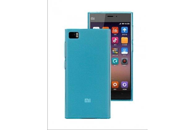Ультра-тонкая полимерная из мягкого качественного силикона задняя панель-чехол-накладка для xiaomi mi3 голубая