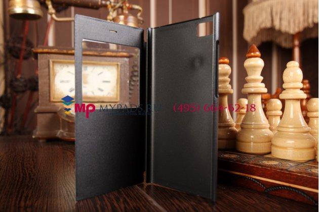 Чехол-книжка для xiaomi mi3 черный кожаный с окошком для входящих вызовов
