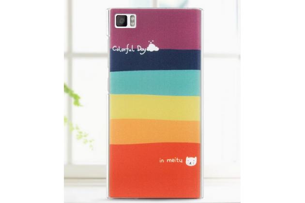 """Необычная из легчайшего и тончайшего пластика задняя панель-чехол-накладка для xiaomi mi3 """"тематика все цвета радуги"""""""