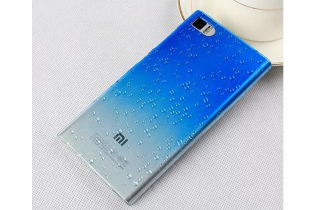 Из тонкого и лёгкого пластика задняя панель-чехол-накладка для xiaomi mi3 прозрачная с эффектом дождя