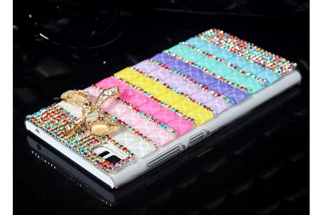 Роскошная элитная пластиковая задняя панель-накладка украшенная стразами кристалликами и декорированная элементами для xiaomi mi3 радужная