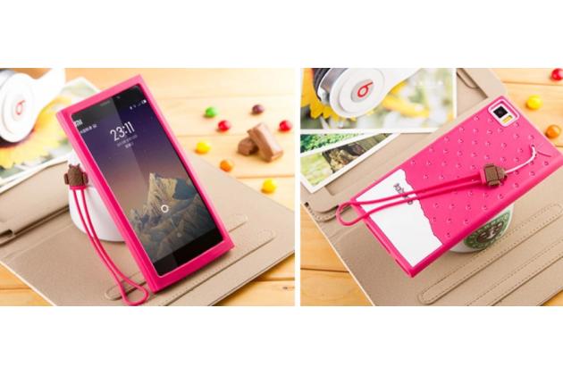 """Необычная уникальная полимерная мягкая задняя панель-чехол-накладка для xiaomi mi3 """"тематика андроид в вишневом шоколаде"""""""