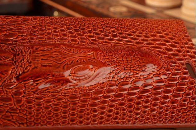 Роскошный эксклюзивный чехол с объёмным 3d изображением кожи крокодила для xiaomi mi4 коричневый. только в нашем магазине. количество ограничено