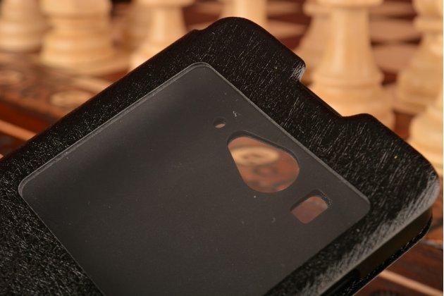 Чехол-книжка для xiaomi mi2s черный кожаный с окошком для входящих вызовов и свайпом
