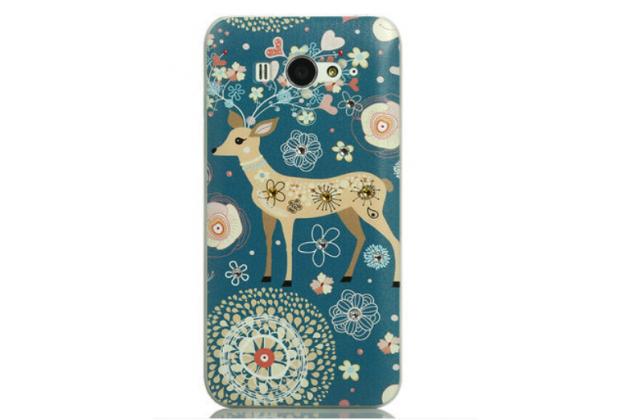 """Роскошная задняя панель-чехол-накладка с безумно красивым расписным узором на xiaomi mi2s  """"тематика олени с цветами"""""""