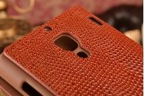 Роскошный эксклюзивный чехол с объёмным 3d изображением кожи крокодила коричневый для xiaomi red rice 1s. только в нашем магазине. количество ограничено