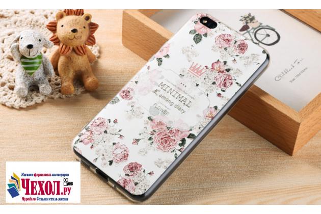 Уникальная задняя панель-крышка-накладка из тончайшего силикона для xiaomi mi 5c с объёмным 3d рисунком тематика королевские розы