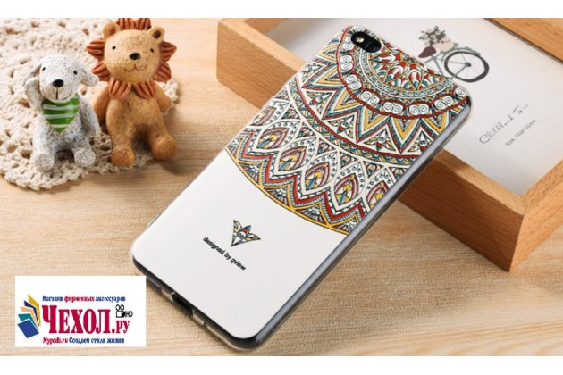 """Задняя панель-крышка-накладка из тончайшего силикона для xiaomi mi 5c с объёмным 3d рисунком тематика """"стильные узоры"""""""