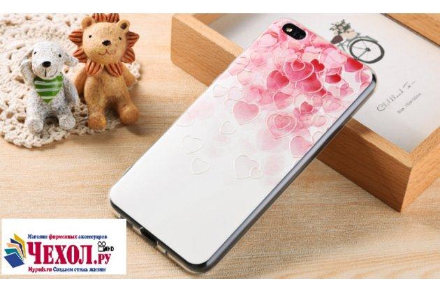 """Задняя панель-крышка-накладка из тончайшего силикона для xiaomi mi 5c с объёмным 3d рисунком тематика """"сердечки"""""""