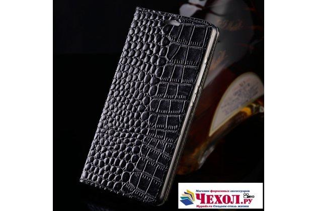 Роскошный эксклюзивный чехол с фактурной прошивкой рельефа кожи крокодила и визитницей черный для xiaomi mi 5c. только в нашем магазине. количество ограничено