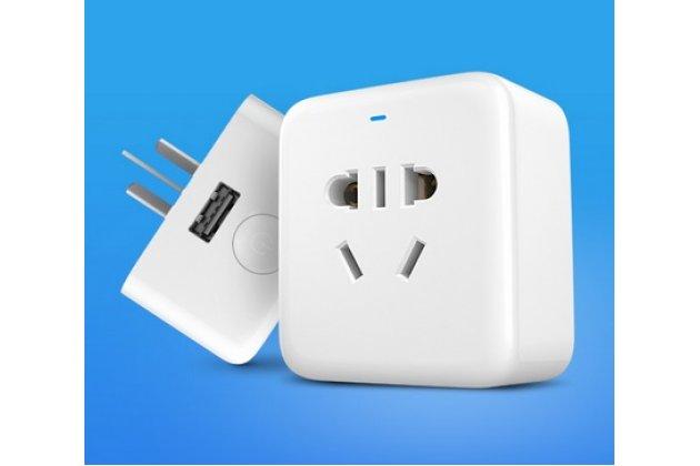 Умная беспроводная wi-fi розетка xiaomi smart socket с usb-разъёмом и переходником для нашей розетки