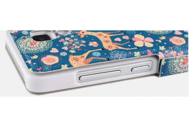 Чехол-книжка с безумно красивым расписным рисунком оленя в цветах на xiaomi mi4  с окошком для звонков