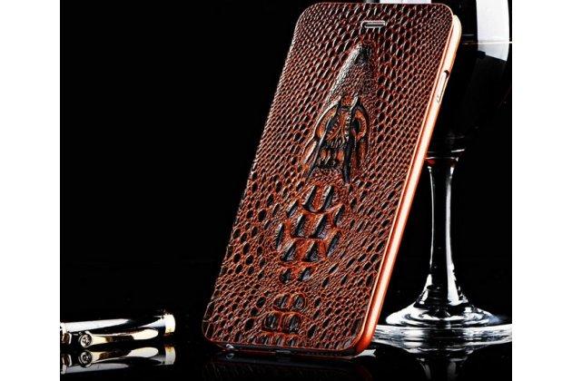 Роскошный эксклюзивный чехол с объёмным 3d изображением кожи крокодила коричневый для sony xperia z3 compact d5803. только в нашем магазине. количество ограничено