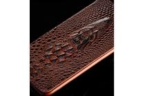 Роскошный эксклюзивный чехол с объёмным 3d изображением кожи крокодила для sony xperia z3 d6603/ z3 dual d6633 коричневый. только в нашем магазине. количество ограничено