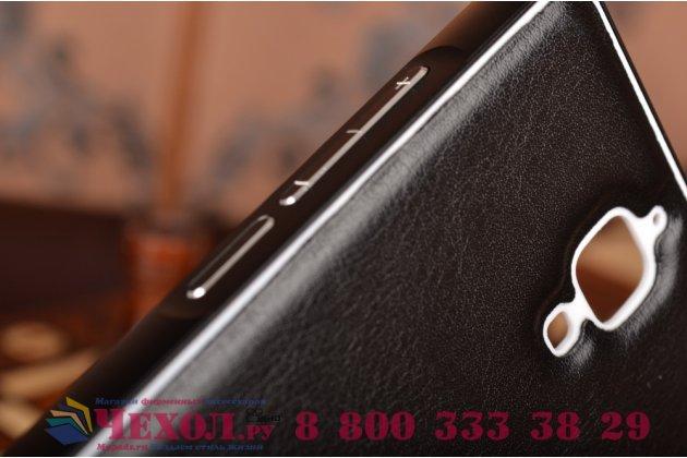Роскошная элитная премиальная задняя панель-крышка на металлической основе обтянутая импортной кожей для xiaomi mi4  королевский черный