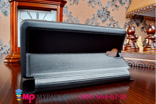 Чехол-книжка для xiaomi mi4 черный кожаный с окошком для входящих вызовов