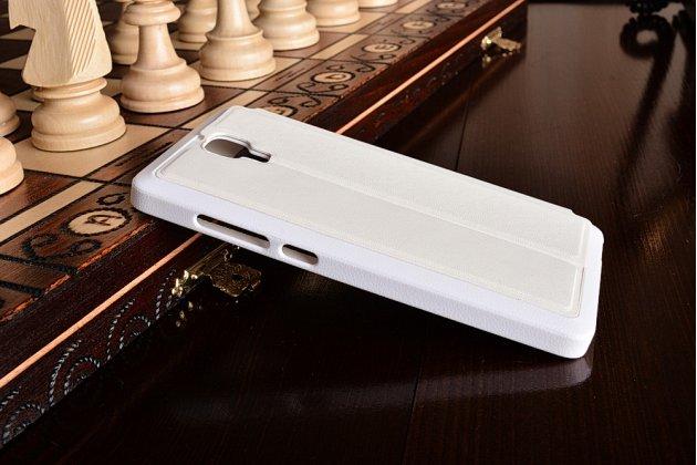 Чехол-книжка для xiaomi miui mi4 белый кожаный с окошком для входящих вызовов