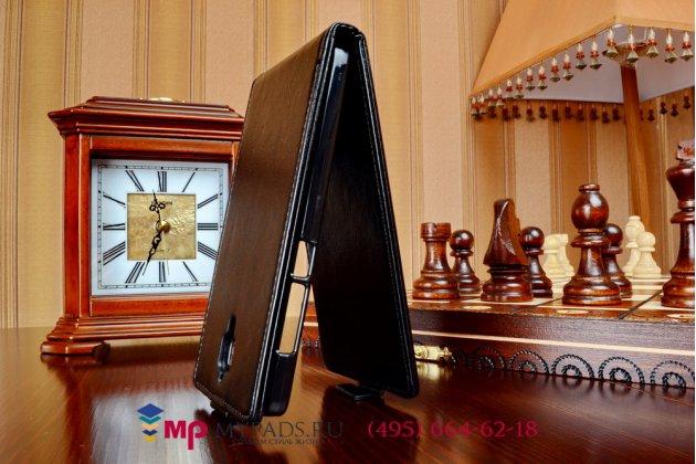 """Вертикальный откидной чехол-флип для xiaomi mi4 черный кожаный """"prestige"""" италия"""