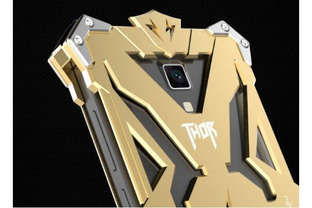 Противоударный металлический чехол-бампер из цельного куска металла с усиленной защитой углов и необычным экстремальным дизайном  для xiaomi mi4 золотого цвета