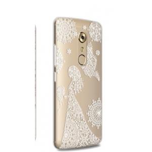 """Задняя панель-чехол-накладка из прозрачного 3d силикона с объёмным рисунком для zte axon 7/ axon 2 (a2017g) 5.5 """" тематика """"девушка в цветах"""" которая огибает логотип чтобы была видна марка телефона"""