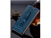 Фирменный роскошный эксклюзивный чехол с объёмным 3D изображением головы крокодила синий для ZTE AXON 7/ Axon ..