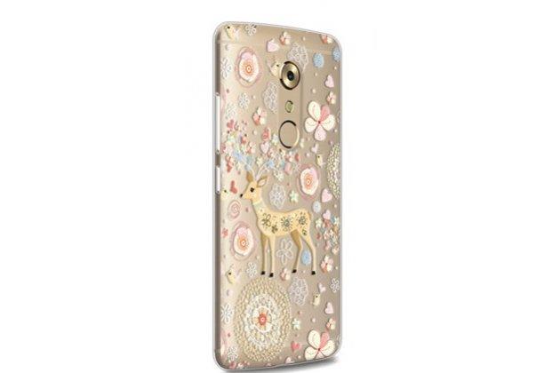 """Задняя панель-чехол-накладка из прозрачного 3d силикона с объёмным рисунком для zte axon 7/ axon 2 (a2017g) 5.5 """" тематика """"оленя в цветах"""" которая огибает логотип чтобы была видна марка телефона"""