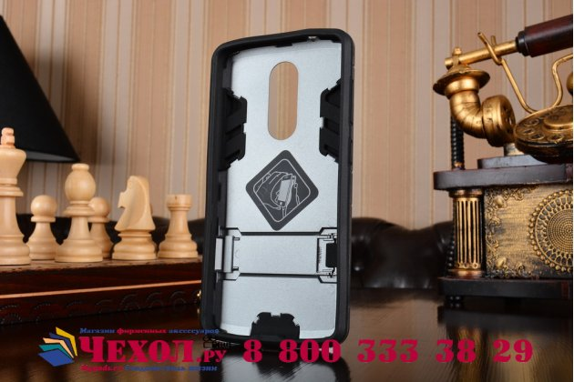 """Противоударный усиленный ударопрочный чехол-бампер-пенал для zte axon 7 mini"""" серый"""