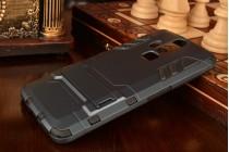 Задняя противоударная панель-крышка-накладка из прочного пластика для zte axon lux pro / zte axon elite 5.5  черная