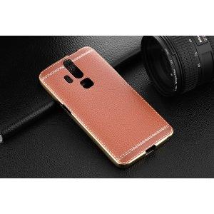 Фирменная премиальная элитная крышка-накладка из качественного силикона с дизайном под кожу для ZTE AXON 7 (A2015) коричневая