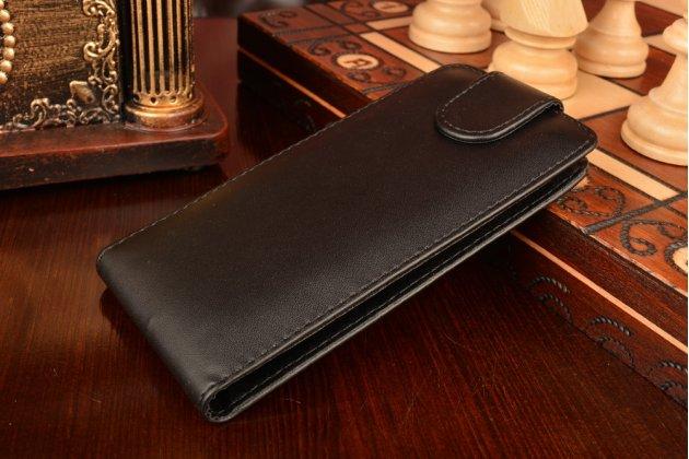 """Вертикальный откидной чехол-флип для  zte blade a3 4.0"""" черный кожаный"""